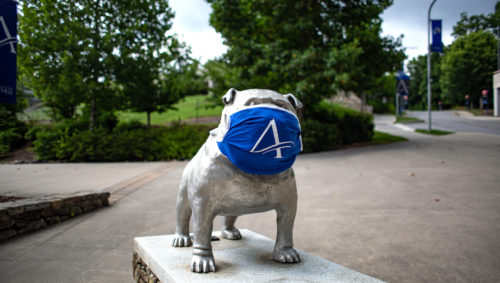 Rocky, UNC Asheville's mascot, weaning a mask on campus to fight the spread of COVID-19 | Photo provided
